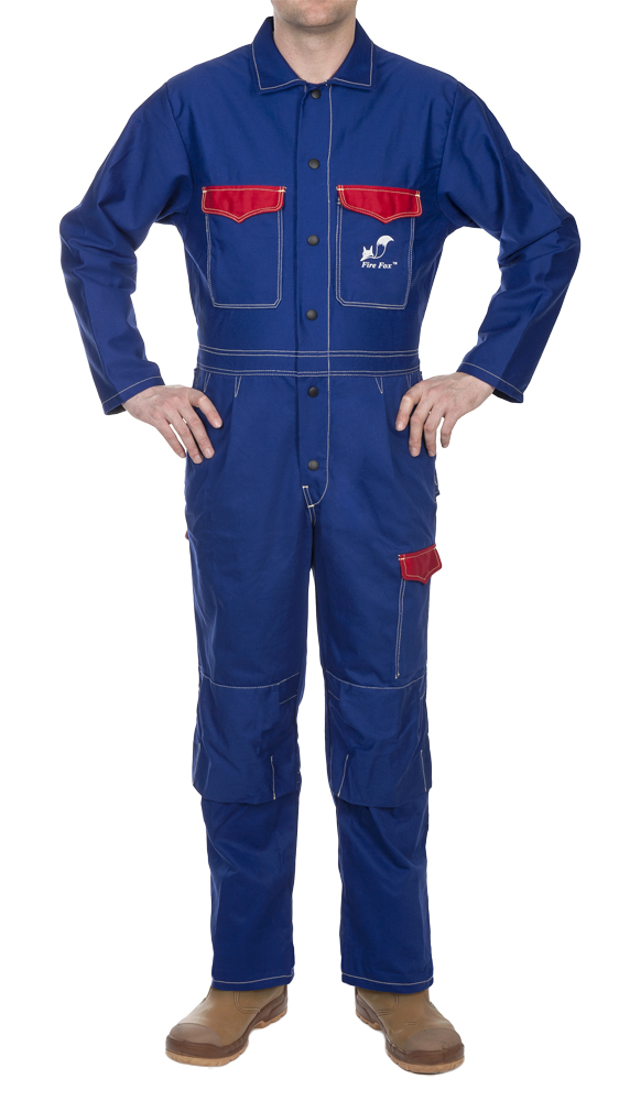 33-2800 Fire Fox blue flame retardant cotton welding coverall front