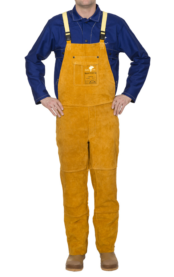 44-2648 Golden Brown welding pants with breast protection front