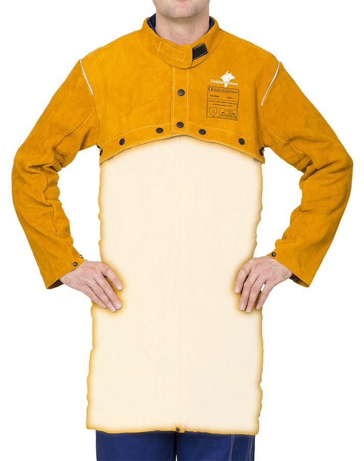 44-2800 Golden Brown split cowleather welding cape sleeve front