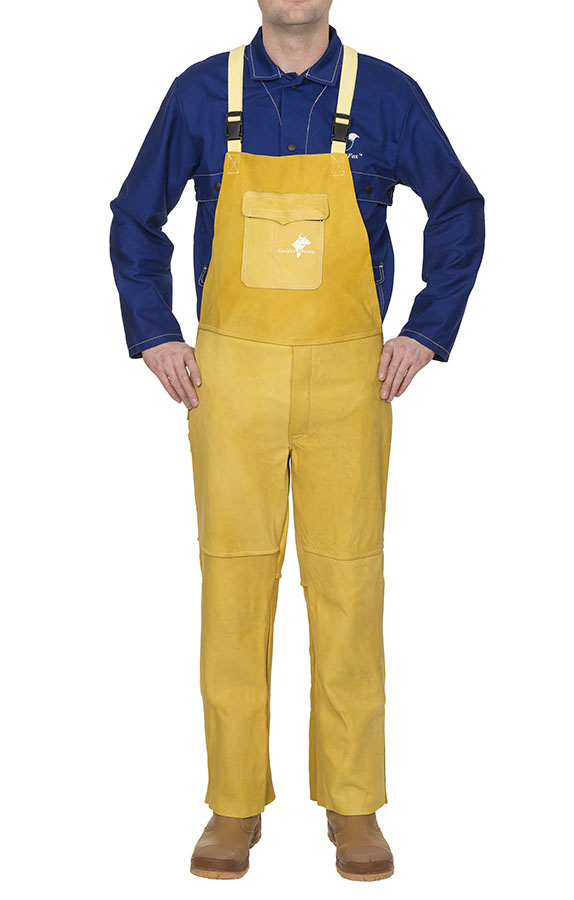 44-5600 Golden Brown welding pants with breast protection front